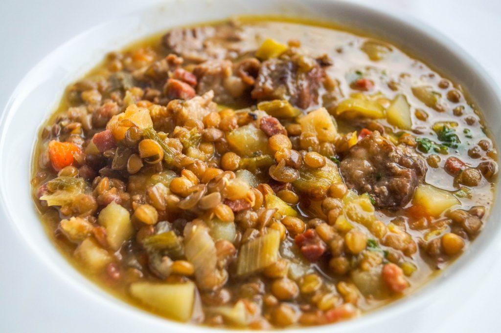Lentil soup as vegan cooking idea on a campervan road trip